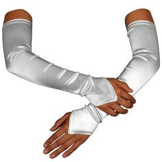 """Privateislandparty.com White Satin Gauntlet Fingerless Gloves $10.99 Do you like the look of the classic princesses? Their elegant dresses, and flawless accessories. Well if you're into this then getting a pair of our white gauntlets is a great idea. They have a small unobtrusive fabric ring to hold them snugly in place, and they measure approximately 17"""" long from the tip to the edge of the glove. Available in red, blue, black, silver, and white."""