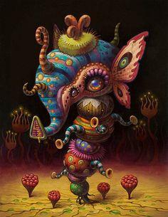 yoko d holbachie painting art illustration - 15 Arte Alien, Psy Art, Lowbrow Art, Cute Monsters, Pop Surrealism, Whimsical Art, Surreal Art, Dark Art, Oeuvre D'art