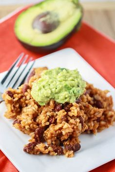 rice and beans casserole with guac! this was SO EASY and SOOOOO GOOD. Very lime-y guac on top made it extra-delightful.