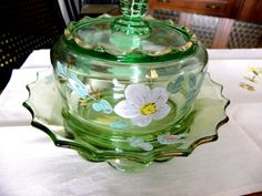 Mid Century Glasswear Hand Painted Top Collectible VintageCandy Dish Vanity Bowl