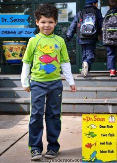 Dr. Seuss Dress Up Day.  One Fish Two Fish Red Fish Blue Fish.  Details on making this simple costume on blog.
