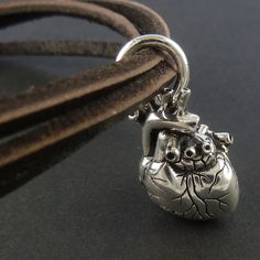 Heart Bracelet Antique Silver Heart on Leather by LostApostle, $42.00