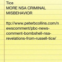 http://... Link to new interview with an early Whistleblower, one who has been harassed 24/7 for years by NSA.