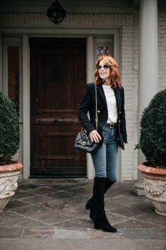 Classic, professional laid back style with a bit of glam- black blazer, white tee, skinny denim, black suede over the knee boots. #jeans2021 #denim2021 #denimtrends Blazer With Jeans, Jeans And Boots, Denim Trends, Sweaters And Jeans, Classic Looks, Modern Classic, Laid Back Style, Blazer Outfits, Black Boots