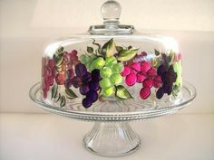 Cake Dish with Grapes by Morningglories1 on Etsy,