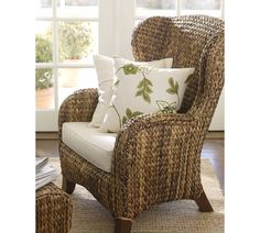 Eating seagrass chairs Furnishings — Homes by Ottoman Living Room Grey, Living Room Sofa, Home Living Room, Living Room Decor, Pottery Barn Furniture, Wicker Furniture, Cool Furniture, Cozy Sofa, High Back Chairs
