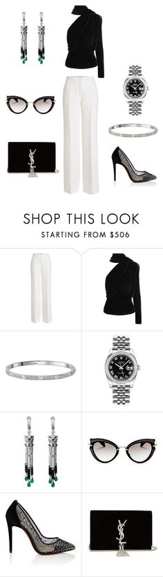 """""""Evening Outfit"""" by sezin-79 ❤ liked on Polyvore featuring Agnona, Gareth Pugh, Cartier, Rolex, Miu Miu, Christian Louboutin and Yves Saint Laurent"""