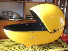 """Space age yellow BABY BASKET! How cool is that..."" - (mid century modern, atomic era, space race)"