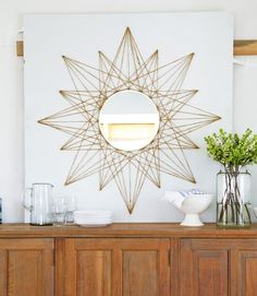 7 DIY Home Decor Crafts to Make With Rope – diy mirror String Art Diy, Diy Wall Art, Wall Decor, Nail String, Branch Decor, String Art Names, Diy Mirror Decor, String Art Letters, Mirror Crafts