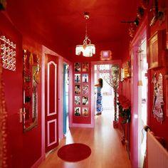 Interior Project Amsterdam Hallway by Rosalisa Colorful Interior Design, Bohemian Interior, Decor Interior Design, Interior Decorating, Red Interiors, Colorful Interiors, Room Colors, House Colors, Pink Hallway