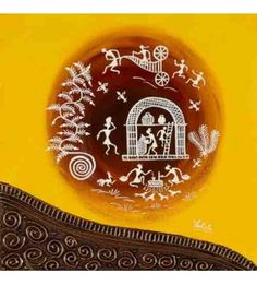Daily Chores Yellow Warli Painting