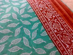 Block Print Fabric Cotton Leaves Indian Turquoise Brown by RaajMa