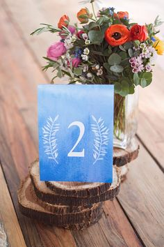 FREE watercolor table number printable #free #printable #wedding