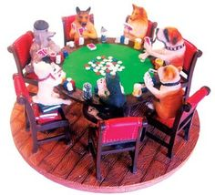 Dogs Playing Poker - Hand Painted Resin Sculpture by Marion