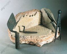 Instruments used for mosaic works: trowel, calipers and a fragment of mosaic 2nd Century B.C.– 2nd Century A.D., France, Burgundy, Chatillon Sur Seine, Archaeological Museum, Gallo-Roman civilization