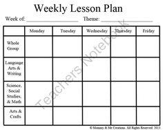 Weekly Preschool Lesson Plan Template(1 page)  - This is a free Weekly Lesson Plan