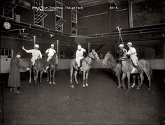 POLO team at Durland's Riding Academy in New York, 1908. - Indoor practice is on an ice less Hockey rink.