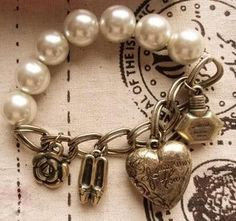 Antique Retro Pearl Heart Shoes Perfume Bracelet