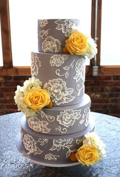 Grey and Yellow Lace Wedding Cake