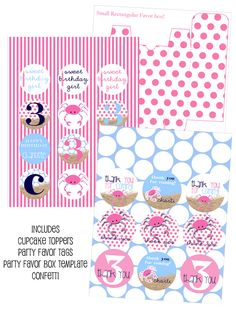 Preppy Pink Crab Printables, Pink Crabby Party, Crab Birthday Party