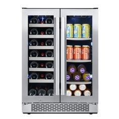 Buy the Avallon Stainless Steel Direct. Shop for the Avallon Stainless Steel 24 Inch Wide 21 Bottle and 60 Can Capacity Built-In Wine Cooler and Beverage Center Combo and save. Wine Coolers Drinks, Wine Chiller, Stainless Steel Refrigerator, Stainless Steel Doors, Wood Shelves, Glass Shelves, Built In Wine Cooler, Beer Cooler, Capacity Building