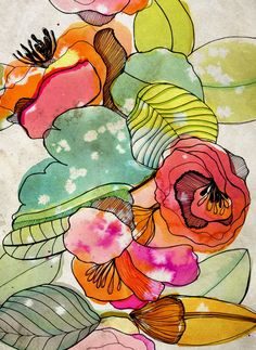 Abstract Watercolor, Watercolor And Ink, Watercolor Flowers, Watercolor Paintings, Watercolours, Art And Illustration, Alcohol Ink Art, Art Sketchbook, Doodle Art