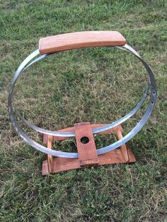 Wine barrel stave and hoop firewood holder
