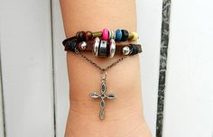 Metal cross   Adjustable braceletantique silver by goodlucky, $6.90