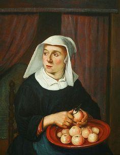 Reynier Hals (Dutch painter, 1627-1671) Women Peeling Apples