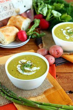 Vegan Cheesy Potato and Asparagus Soup - ilovevegan.com
