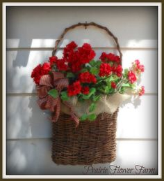 Easy To Grow Houseplants Clean the Air Easy To Make, Basket, Burlap Fabric, Homemade Gingham Bow And Geranium Silk Flowers.