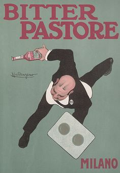"By Luigi Emilio Caldanzano, Bitter Pastore Milano.  From ""Ricordi Portfolio"" a serie of greatest Italian posters printed between 1895 & 1914."