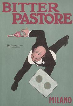 "By Luigi Emilio Caldanzano, Bitter Pastore Milano.  From ""Ricordi Portfolio"" a serie of greatest Italian posters printed between 1895 & 1914."