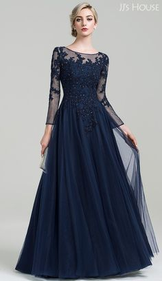 Saudi Arabia A-Line Princess Scoop Neck Floor-Length Tulle Mother of the Bride Dress With Beading Sequins 2016 Evening dresses Mother Of The Bride Dresses Long, Mothers Dresses, Bride Groom Dress, Bride Gowns, Prom Gowns, Mob Dresses, Bridesmaid Dresses, Formal Dresses, Sequin Outfit
