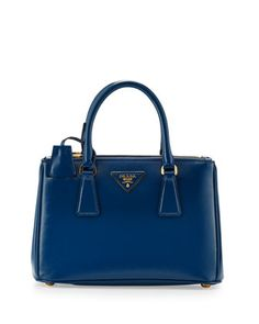 Saffiano Vernice Mini Double-Zip Crossbody Bag, Blue (Cobalto) by Prada at Neiman Marcus. Dreaming...