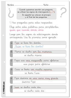 actividad para aprender el signo de interrogación para escolares ...
