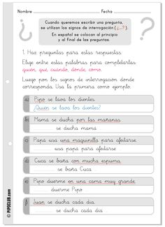 Signos de interrogación - Ortografía Primaria Spanish Teacher, Teaching Spanish, Teaching Resources, Spanish 1, Spanish Lessons, Dual Language, Spanish Language, Speech Language Therapy, Speech And Language