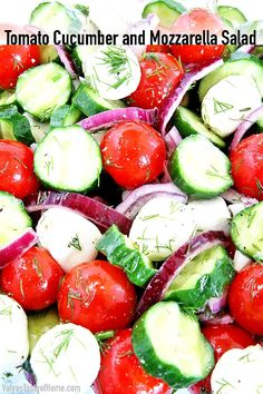 Tomato Cucumber and Mozzarella Salad « Valya's Taste of Home Easy Salad Recipes, Easy Salads, Vegetarian Recipes, Sweets Recipes, Tomato Mozzarella Salad, Creamy Cucumbers, World Recipes, Salad Ingredients, How To Make Salad