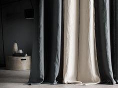Rideau en 100% lin lavé, Autour du lin, bicolore anthracite-lin bourdon contrasté anthracite. Oeuillets en metal.