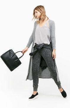 NYTT Tri Blend Long Cardigan in Gray XS | DAILYLOOK