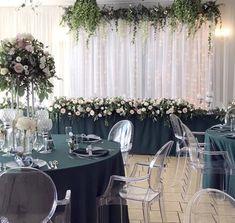 zielone obrusy, kwiaty i srebrne dodatki Easy Diy, Wedding Inspiration, Organic, Table Decorations, Floral, Furniture, Home Decor, Wedding, Decoration Home