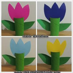 Atividade Reciclagem Flor de Rolo de Papel