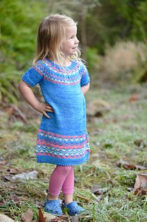 Banasik Tunic is a seamless tunic, knit top-down with a circular yoke and stranded colorwork.  (DK weight)