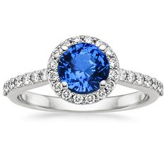Sapphire Halo Diamond Ring with Side Stones (1/3 ct. tw.) in 18K White Gold, 6mm Round Blue Sapphire