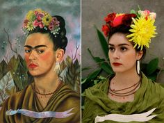 """Self portrait dedicated to Dr. Eloesser"", Frida Kahlo – remake by Yesenia Caloca ""Self portrait dedicated to Dr. Eloesser"", Frida Kahlo – remake by Yesenia Caloca Famous Portraits, Paintings Famous, Classic Paintings, Classic Portraits, Famous Artwork, Art Challenge, Tableaux Vivants, Body Art Photography, Art Costume"