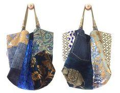 Cette création est une pièce unique. Au Recto, le grand sac Ming est réalisé dans une multitude de tissus bleus avec des touches de beige et une touche de doré : velours, jacquards, toile de Jouy, jeans recyclé... Le Verso de Ming est tout en lin bleu marine très foncé avec 2