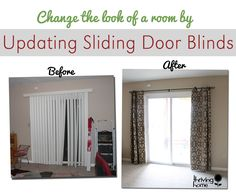 42 super Ideas for sliding glass door coverings window treatments curtain rods Sliding Glass Door Window, Diy Curtains, Door Blinds, Sliding Door Blinds, Door Window Treatments, Door Makeover, Sliding Glass Door Curtains, Sliding Door Curtains, Patio Door Coverings