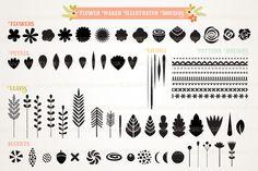 Flower Creator Illustrator Brush Set by MelsBrushes on Creative Market