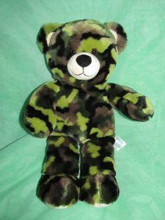 """Build A Bear Plush Camo Bear Camouflage Stuffed Teddy Bear 17"""" Tall Military   eBay"""