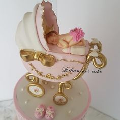 hand made Baby stroller topper cake and gumpaste baby ..... ... .. #cakebakeoffng#babyshowercake#babystroller#babystrollercake#amazingcake#cakeinsta#lightpink#babyshower#instagram#babygirl#gumpastebaby#caketopper#pink#cakeInspiration